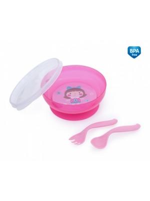 Canpol babies Uzatvárateľná miska s lyžičkou a vidličkou Toys - ružová