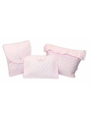 Baby Nellys  Sada príručných tašiek, prešívaná / růžová, 3ks