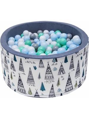 NELLYS Bazén pre deti 90x40cm  - týpí, šedý s balonikami, Ce19