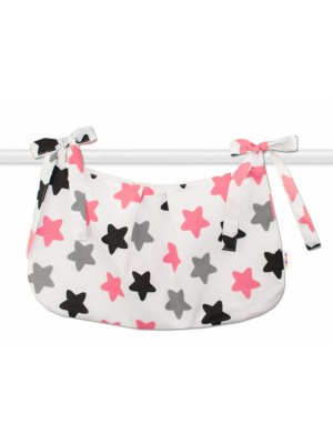 Baby Nellys Vreckár na hračky Farebné hviezdičky - ružové