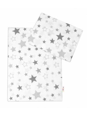 3-dielna sada - mantinel s obliečkami Hviezdy a hviezdičky - sivá / grafit na bielom - 120x90