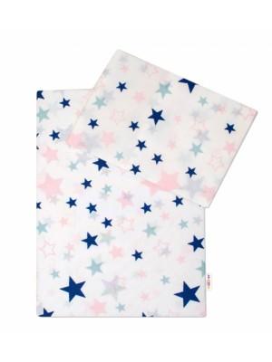 3-dielna sada - mantinel s obliečkami Hviezdy a hviezdičky - ružová / granát na bielom - 135x100