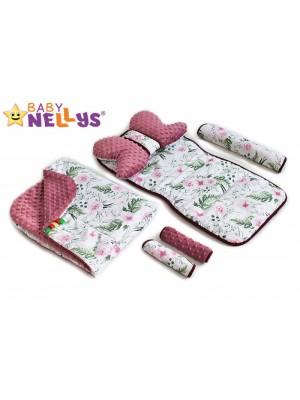 Baby Nellys Komplet do kočíka - podložka, polštářek, potah na popruhy a barierku č. 3  D19
