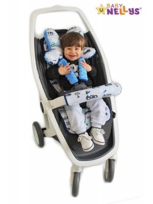 Baby Nellys Komplet do kočíka - podložka, polštářek, potah na popruhy a barierku č. 4  D19