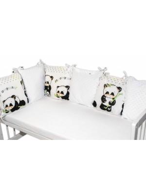 Baby Nellys  Vankúšikový mantinel Baby Nellys, Panda, minky - biela