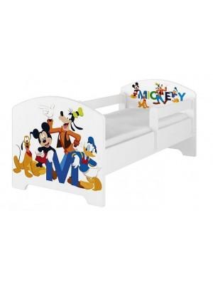 BabyBoo Detská postel Disney - Mickey s kamarátmi - biela s materacom - 140x70