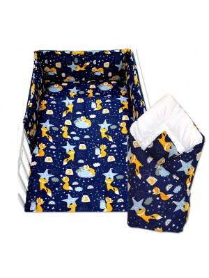 3-dielna sada mantinel s obliečkami + zavinovačka zadarmo - Liška a hvězdy, 135 x 100 cm - 135x100