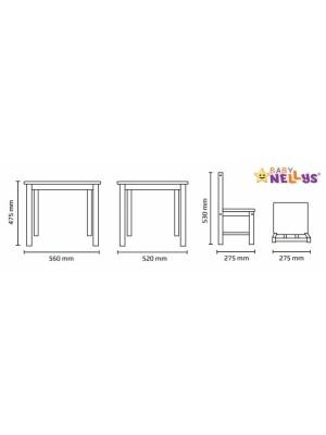 BABY NELLYS Detský nábytok - 3 ks, stôl s stoličkami - ruzova, biela,B/01