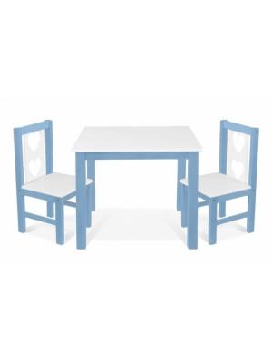 BABY NELLYS Detský nábytok - 3 ks, stôl s stoličkami - modrá, biela,B/02