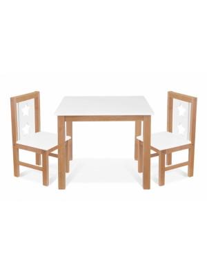 BABY NELLYS Detský nábytok - 3 ks, stôl s stoličkami - prírodná, biela, C/08