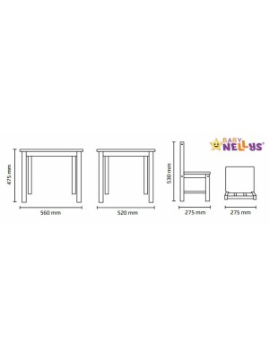 BABY NELLYS Detský nábytok - 3 ks, stôl s stoličkami - modra,biela, C/02