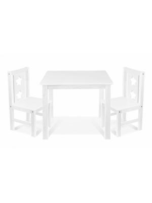 BABY NELLYS Detský nábytok - 3 ks, stôl s stoličkami - biela, C/07