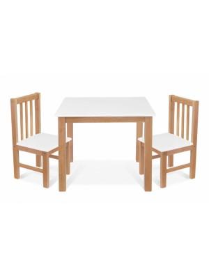 BABY NELLYS Detský nábytok - 3 ks, stôl s stoličkami - prírodná, biela, A/01