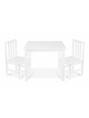BABY NELLYS Detský nábytok - 3 ks, stôl s stoličkami - biela, A/02