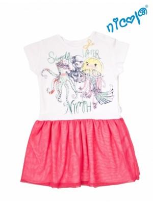 Detské šaty Nicol, Morská víla - červeno/biele, veľ. 98 - 92 (18-24m)