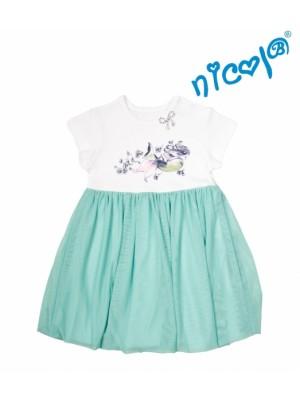 Detské šaty Nicol, Morská víla - zeleno/biele - 110