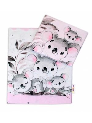 2-dielne bavlnené obliečky Baby Nellys - Medvedík Koala -  ružový - 120x90