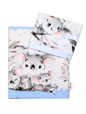 2-dielne bavlnené obliečky Baby Nellys - Medvedík Koala - modrý, roz. 135 x 100 cm - 135x100