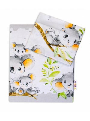 2-dielne bavlnené obliečky Baby Nellys - Medvedík Koala - sivý - 120x90