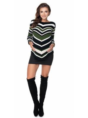 Be Maamaa Dlhši tehotenský sveter khaki- šikmý vzor - UNI