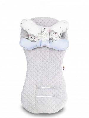 Sada do kočíka Baby Nellys Minky - podložka + vankúšik, Medvedík Koala - modrá