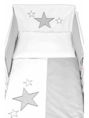 Baby Nellys 5-dielna súprava do postieľky Baby Stars - sivá - 120x90