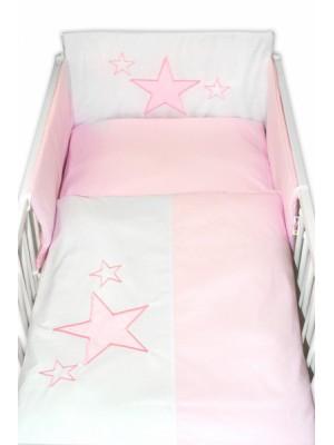 Baby Nellys 5-dielna súprava do postieľky Baby Stars - ružová - 120x90
