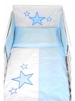 Baby Nellys 5-dielna súprava do postieľky Baby Stars - modrá, veľ. 135x100 cm - 135x100