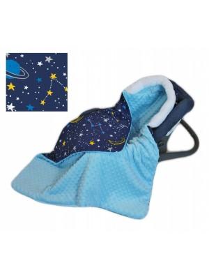 Baby Nellys Bavlnená obojstranná dečka 3v1 s minky a kožušinkou, 90x90 cm, fareb. vesmír