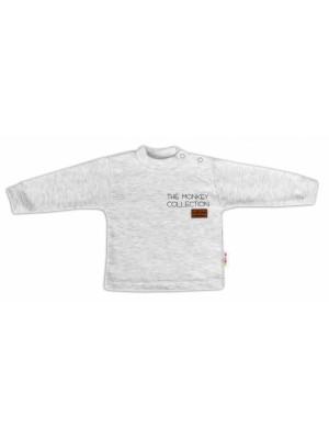 Baby Nellys Bavlnené tričko dlhý rukáv Monkey - sv. sivý melírek, veľ. 80 - 80 (9-12m)