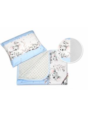 2-dielna súprava do kočíka s minky, Baby Nellys, Medvedík Koala - modrá