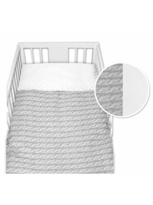 2-dielne bavlnené obliečky  minky Baby Nellys, Pletený vrkoč - sivý, 135x100cm - 135x100
