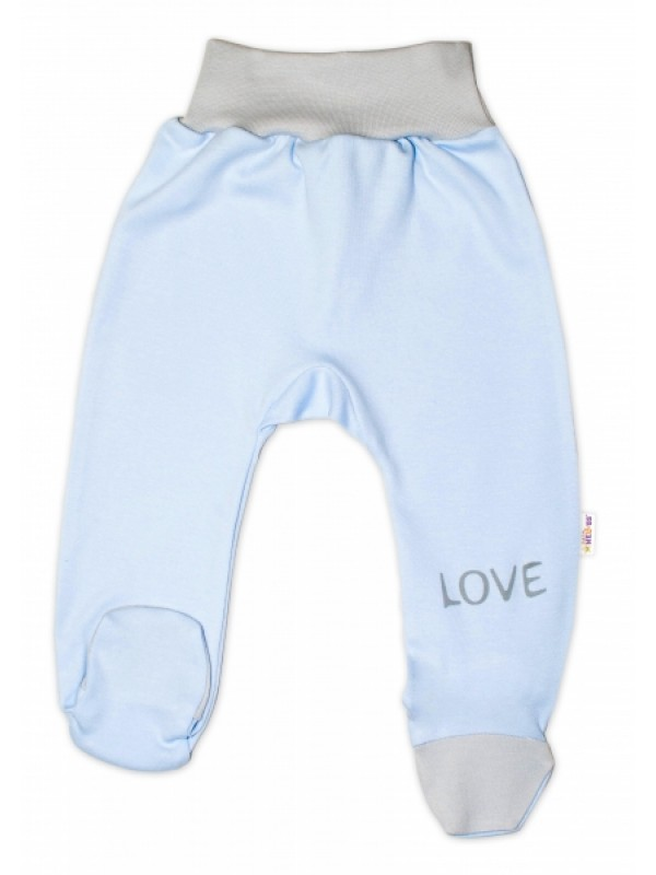 Baby Nellys Dojčenské polodupačky, modré - Love, veľ. 62 - 62 (2-3m)