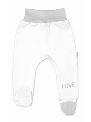 Baby Nellys Dojčenské polodupačky, biele - Love, veľ. 56 - 56 (1-2m)
