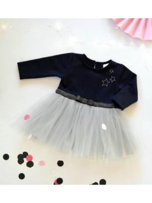 Dojčenské Tutu šaty K-Baby, Hvezdičky - tm. modrá/sivá, veľ. 86 - 86 (12-18m)