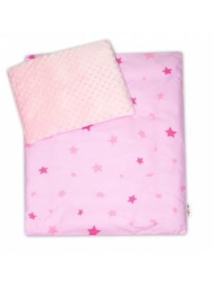 4-dielna súprava do kočíka Minky, Baby Nellys - Hviezdičky ružové