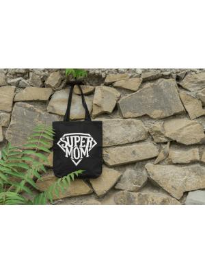 Bavlnená taška pre mamy Super Mom - čierna