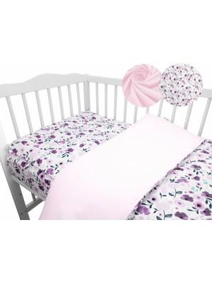 2-dielne bavlnené obliečky Baby Nellys - Lučné kvietky, růžové, roz. 135x100 cm - 135x100