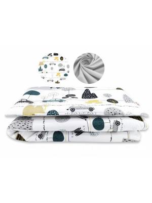 2-dielne bavlnené obliečky Baby Nellys -auto v aleji, šedá, roz. 135x100 cm - 135x100