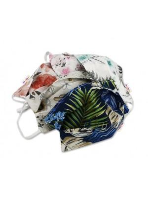 Bavlnená rúška, dvojvrstvová s vreckom na filter na gumku  - dámské motívy
