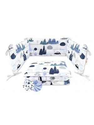 2-dielne bavlnené obliečky Baby Nellys - Auta v aleji, modrá - 120x90