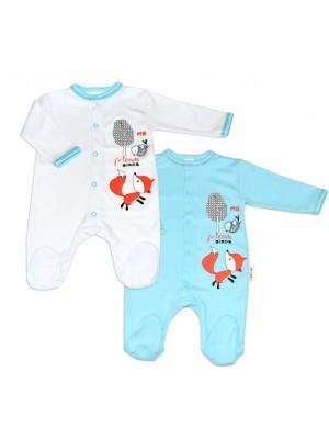 Baby Nellys Bavlnený dojčenský overal Fox - biely, veľ. 80 - 80 (9-12m)