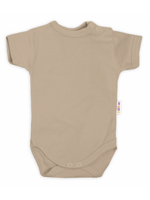 Baby Nellys Bavlnené body kr. rukáv - béžové - 62 (2-3m)