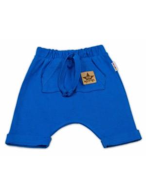 Baby Nellys Bavlnené kraťasy Baggy s klokaním vreckom - modré, veľ. 92 - 92 (18-24m)
