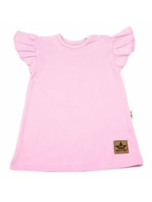 Baby Nellys Bavlnené šaty Nikolka s volánikmi, krátky rukáv - sv. ružové, veľ. 98 - 98 (2-3r)