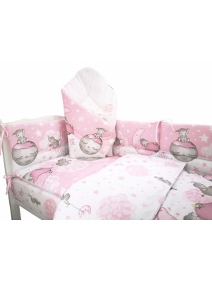 3-dielna sada mantinel s obliečkami + zavinovačka zadarmo - Baby Elephant, růžový - 120x90