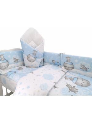 3-dielna sada mantinel s obliečkami + zavinovačka zadarmo - Baby Elephant,modrý, 135x100cm - 135x100