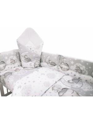 3-dielna sada mantinel s obliečkami + zavinovačka zadarmo - Baby Elephant,šedá - 120x90