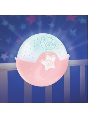 Infantino Nočná lampička s projekciou - růžová