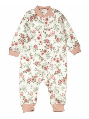 Baby Bavlnený overal bez šlapiek - ROSE,  pudrová - 68 (4-6m)